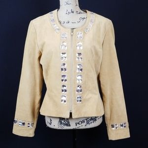 Boston Proper leather rhinestone detail jacket CZC